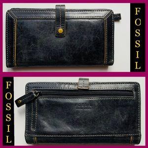 Fossil multi card black leather wallet EUC